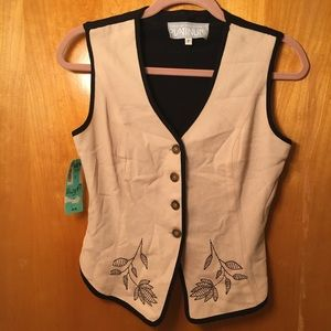 NWT VTG Floral/Leaf Vest - Sand Brown/Black, PS